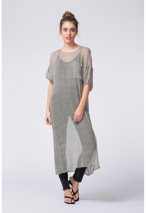 Robe imprimée longue coupe ample. Manches 3/4 et col rond. Look oversize