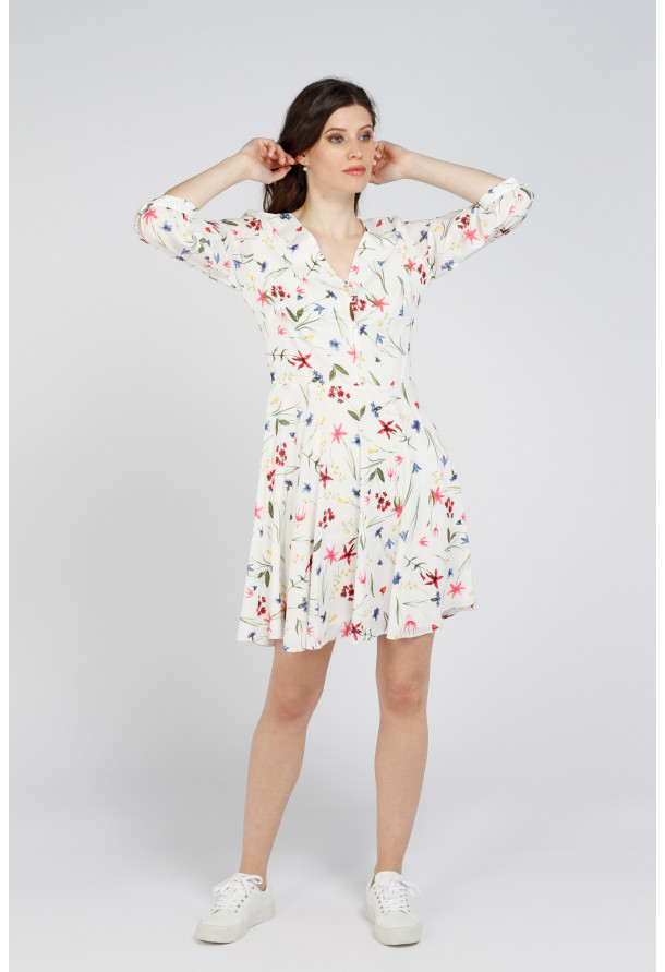 Robe Eleonora White Summer Floral