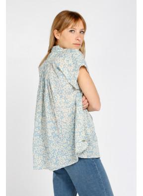 Shirt Emma Flower Ice Blue