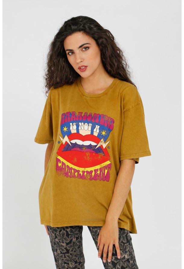 T-shirt Lips Mustard