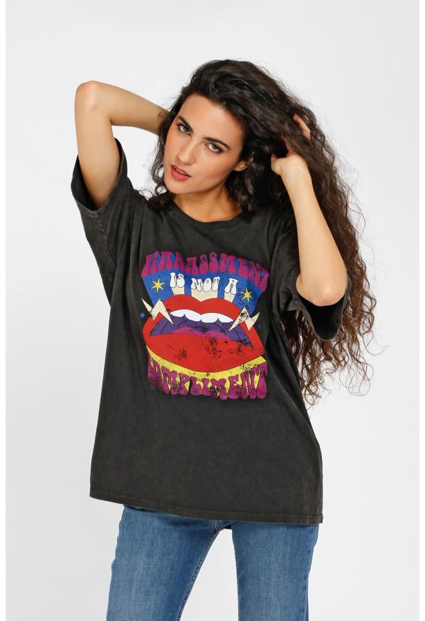 T-shirt Lips Black