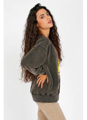 Sweatshirt Smiley Black