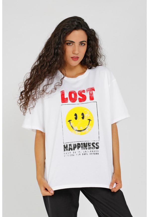T-shirt Smiley White